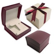 Beige & Burgundy Leatherette Gift Boxes